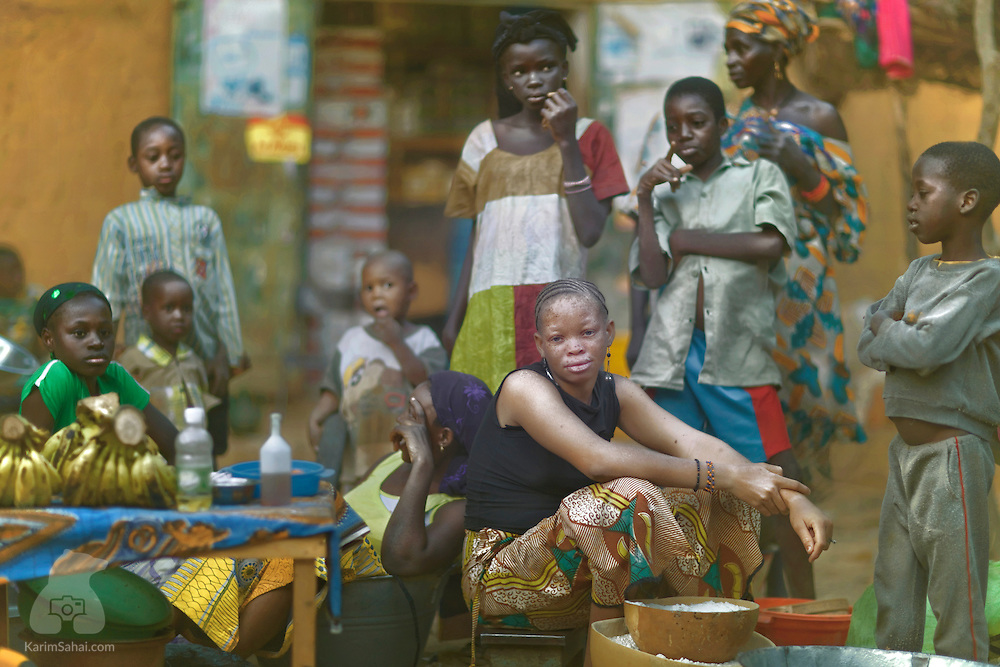 A girl and her friends at the Markala market, Mali.