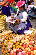 ECUADOR, HIGHLANDS, CUENCA vendor in outdoor produce market