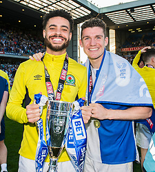 Derrick Williams of Blackburn Rovers and Paul Downing of Blackburn Rovers Free to use courtesy of Sky Bet - Mandatory by-line: Alex James/JMP - 05/05/2018 - FOOTBALL - Ewood Park - Blackburn, England - Blackburn Rovers v Oxford United - Sky Bet League One