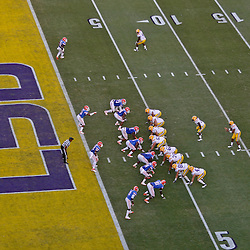 October 8, 2011; Baton Rouge, LA, USA;  LSU Tigers offense lines up for a play against the Florida Gators during the fourth quarter at Tiger Stadium. LSU defeated Florida 41-11. Mandatory Credit: Derick E. Hingle-US PRESSWIRE / © Derick E. Hingle 2011