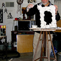 "Isaac Witkin working on plaster model of ""Aleph"" sculpture. Published in catalog of his exhibition at Rider Univeristy, 2007.  Photo taken in 2006 with a Nikon D80 DSLR."