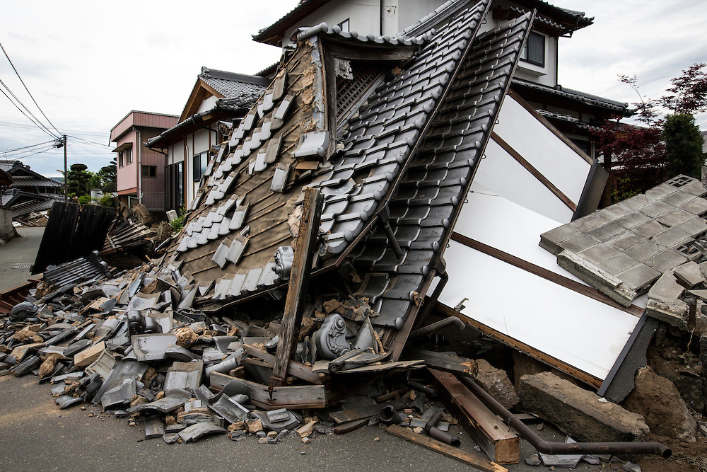 KUMAMOTO, JAPAN - APRIL 16: Roof tiles that fell from a house in Mashiki, Kumamoto Prefecture, are seen on Friday morning. The area was severely hit by a magnitude 7 quake Saturday early morning on April 16, 2016 in Mashiki, Kumamoto prefecture, Japan. <br /> Photo: Richard Atrero de Guzman