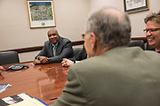 "WASHINGTON, DC - MAY 24: National Association of Music Merchants member Bernie Williams speaks with Sen. Charles Grassley (D-IA) during ""NAMM, VH1 And CMA Day Of Music Education Advocacy Capitol Hill"" in the Rayburn House Office Building on May 24, 2017 in Washington, DC. (Photo by Kris Connor/Getty Images for NAMM) *** Local Caption ***  Bernie Williams; Charles Grassley"