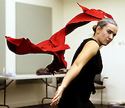 Jonida Beqo goes through a preliminary rehearsal for her one-woman show at Theatrical Outfit.
