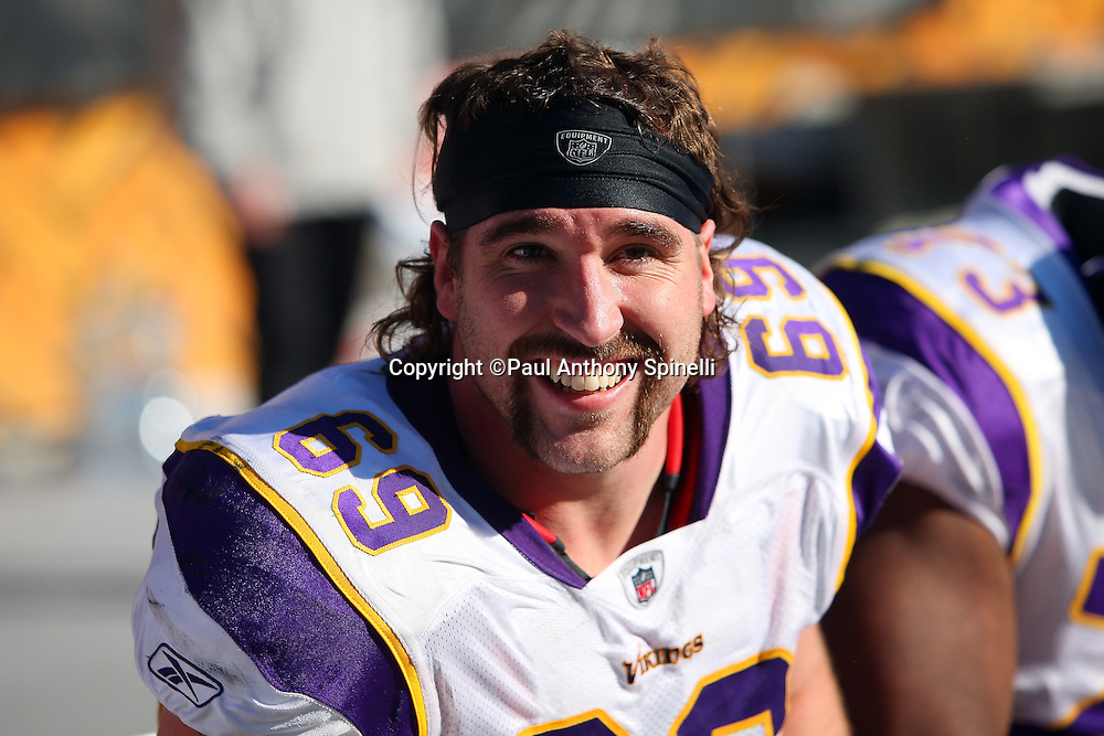 Minnesota Vikings defensive end Jared Allen (69) smiles during a bench break at the NFL football game against the Pittsburgh Steelers, October 25, 2009 in Pittsburgh, Pennsylvania. The Steelers won the game 27-17. (©Paul Anthony Spinelli)
