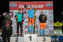 18.01.2019, Biathlonzentrum, Obertilliach, AUT, Dolomitenlauf, Dolomitensprint, im Bild v.l. 2. Platz Maria Graefnings (SWE), 1. Platz Constance Vulliet (FRA), 3. Platz Tatjana Mannima (EST) // during the sprint competition of the Dolomitenlauf at the Biathlonzentrum in Obertilliach, Austria on 2019/01/18. EXPA Pictures © 2019, PhotoCredit: EXPA/ Dominik Angerer