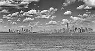 Manhattan, Jersey City, Statue of Liberty, Hudson River in monochrome.
