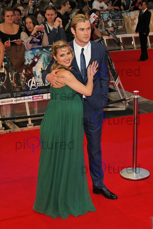 LONDON - APRIL 19: Elsa Pataky; Chris Hemsworth attend the European Film Premiere of 'Avengers Assemble' at the Westfield Shopping Centre, White City, London, UK. April 19, 2012. (Photo by Richard Goldschmidt)