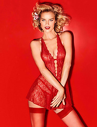 ***EMBARGOED UNTIL 11PM MON 26 NOV GMT*** STRICTLY NO USE UNLESS USED IN CONJUNCTION WITH STORY ABOUT YAMAMAY LINGERIE CAMPAIGN*** Eva Herzigova is red hot in a new Christmas-themed lingerie campaign. The 45-year-old Czech supermodel shows off her flawless figure in a series of sexy festive-inspired ensembles for Italian brand Yamamay. In one look the mother-of-three dons a sensual red bra and knicker combo, teamed with thigh-high stockings while in another image she is racy in black lace underwear, suspenders and a halter neck bra. The Eva lingerie campaign, shot by Giampaolo Sgura for Yamamay, is part of the brands 2018 'It's Christmas' collection. Yamamay has a whole bounty of products as part of its Christmas range including lingerie, party clothes, his and hers gadgets and a new line of print pajamas. The lines officially launches on November 27. 26 Nov 2018 Pictured: Eva Herzigova models sexy festive underwear from Yamamay's 2018 'It's Christmas campaign'. Photo credit: Yamamay/ MEGA TheMegaAgency.com +1 888 505 6342