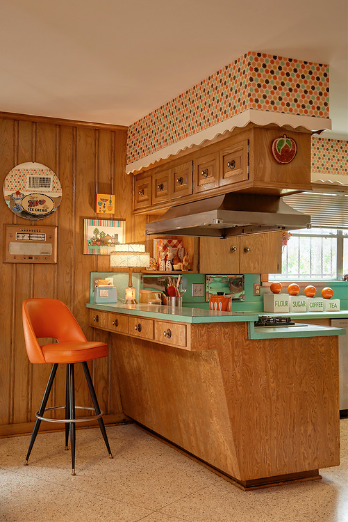 Built in about 1965, this homes interiors were photographed for an article on the vintage-modern home and its period furnishings as well as its overall restoration.