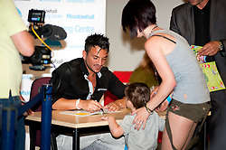 """Peter Andre Signs copies of his new childrens books """"The Happy Birthday Party"""" and """"A New Day at School"""" in WH Smiths Sheffield on 6th September2011 Image © Paul David Drabble"""