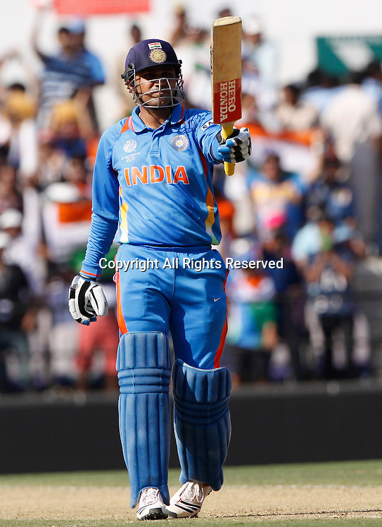 12.03.2011 Cricket World Cup India v South Africa from Nagpur. Virender Sehwag of india celebrate scoring a fifty during the match of the ICC Cricket World Cup between India and South Africa.
