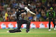 Tom Blundell hits out.<br /> Pakistan tour of New Zealand. T20 Series. 3rd Twenty20 international cricket match, Bay Oval, Mt Maunganui, New Zealand. Sunday 28 January 2018. © Copyright Photo: Andrew Cornaga / www.Photosport.nz