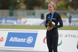 16 June 2016;  Greta Streimikyte (Swords, Co. Dublin), T13 class, Clonliffe Harriers AC with her Bronze Medal in the T13 1500m at the 2016 IPC Athletic European Championships in Grosseto, Italy.