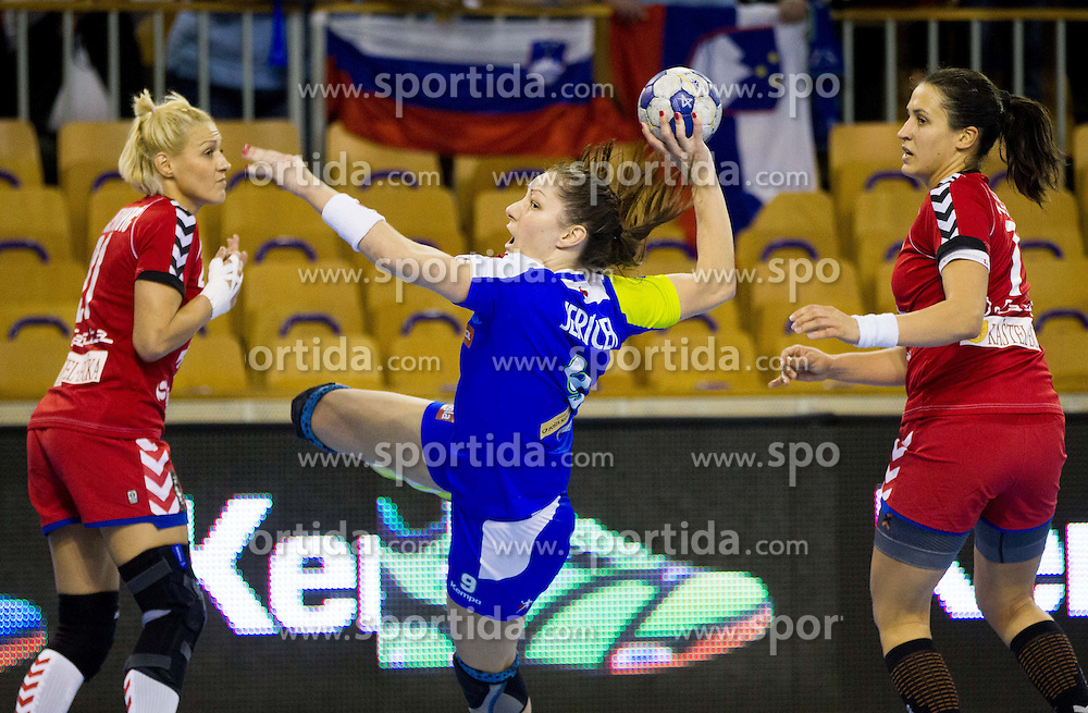 Nina Jericek of Slovenia during handball match between Women National teams of Slovenia and Serbia in 2nd Round of Qualifications for 2014 EHF European Championship on October 27, 2013 in Hala Tivoli, Ljubljana, Slovenia. (Photo by Vid Ponikvar / Sportida)