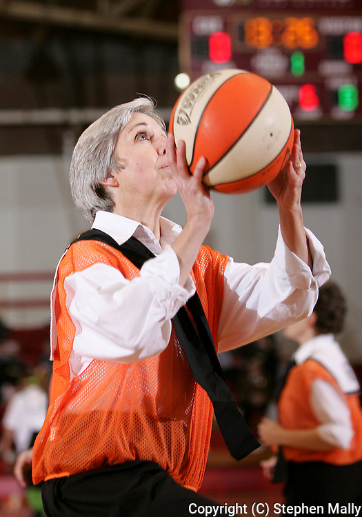 Robins Late Bloomer's Kathy Hilton, age 51, shoots a basket during their game at Coe College on February 14, 2007.