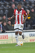 Josh Clarke (36) of Brentford  during the Sky Bet Championship match between Hull City and Brentford at the KC Stadium, Kingston upon Hull, England on 26 April 2016. Photo by Ian Lyall.