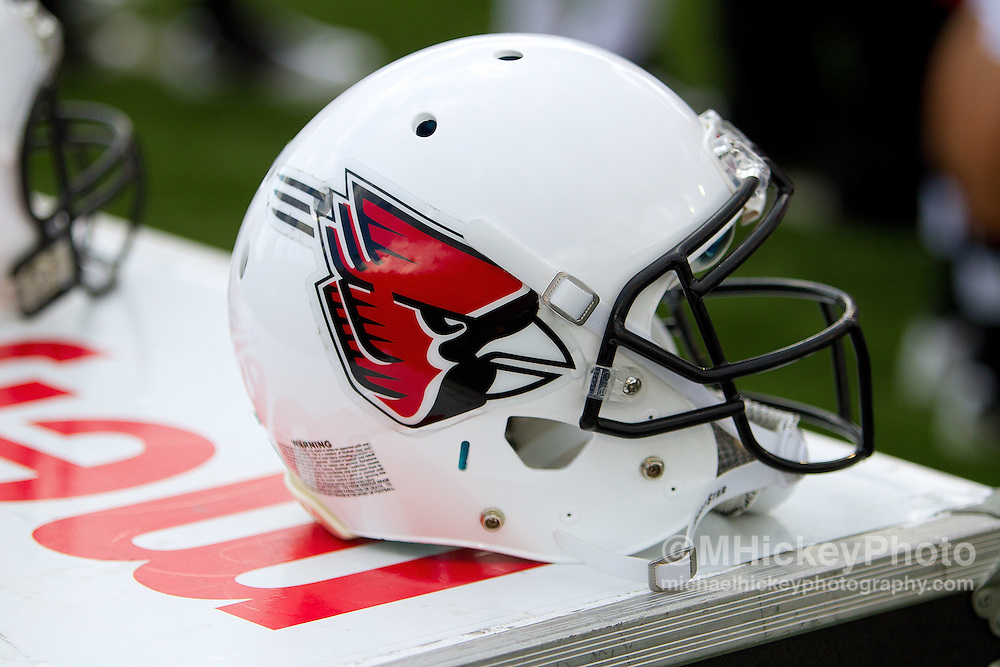 Sept. 24, 2011; Muncie, IN, USA; Ball State Cardinals helmet seen on the sidelines against the Army Black Knights at Scheumann Stadium. Ball State defeated Army 48-21. Mandatory credit: Michael Hickey-US PRESSWIRE
