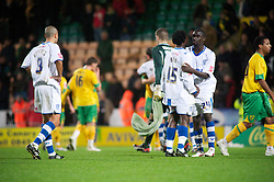 NORWICH, WALES - Saturday, November 14, 2009: Tranmere Rovers' Kithson Bain [15] and Zoumana Bakayogo look dejected after losing 2-0 against Norwich City during the League One match at Carrow Road. (Pic by David Rawcliffe/Propaganda)
