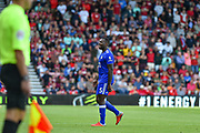Leicester City Defender, Wes Morgan (5) leaves the pitch after being sent off red card during the Premier League match between Bournemouth and Leicester City at the Vitality Stadium, Bournemouth, England on 15 September 2018.