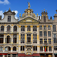 Guildhalls on Northeast of Grand Place in Brussels, Belgium <br />