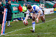 Workington Town winger Joe Hambley (2) scores a try  during the Betfred League 1 match between Keighley Cougars and Workington Town at Cougar Park, Keighley, United Kingdom on 18 February 2018. Picture by Simon Davies.