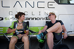Kirsten Wild & Sheyla Gutierrez share a joke before Stage 8 of the Giro Rosa - a 141.8 km road race, between Baronissi and Centola fraz. Palinuro on July 7, 2017, in Salerno, Italy. (Photo by Sean Robinson/Velofocus.com)