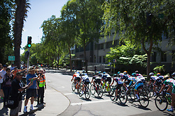 The peloton rides down on N Street on Stage 3 of the Amgen Tour of California - a 70 km road race, starting and finishing in Sacramento on May 19, 2018, in California, United States. (Photo by Balint Hamvas/Velofocus.com)