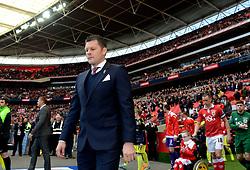 Bristol City manager, Steve Cotterill leads the team out  - Photo mandatory by-line: Joe Meredith/JMP - Mobile: 07966 386802 - 22/03/2015 - SPORT - Football - London - Wembley Stadium - Bristol City v Walsall - Johnstone Paint Trophy Final