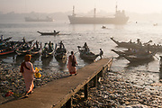 Commuter boats at rush hour on the Yangon River, Yangon, Rangoon, Myanmar