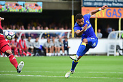 AFC Wimbledon Andy Barcham (17) shoots for goal during the Pre-Season Friendly match between AFC Wimbledon and Watford at the Cherry Red Records Stadium, Kingston, England on 15 July 2017. Photo by Jon Bromley.