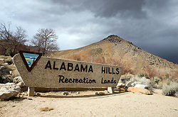 BLM welcome sign for Alabama Hills Recreation Lands, Lone Pine, California