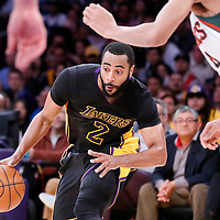 27 February 2015: Los Angeles Lakers guard Wayne Ellington (2) dribbles during the Los Angeles Lakers 101-93 victory over the Milwaukee Bucks, at the Staples Center, Los Angeles, California, USA.
