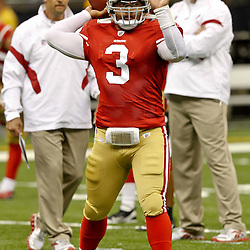August 12, 2011; New Orleans, LA, USA;San Francisco 49ers running back Jeremiah Masoli (3) prior to kickoff of a preseason game against the New Orleans Saints at the Louisiana Superdome. Mandatory Credit: Derick E. Hingle