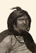 A woman from Prince William's Sound, Alaska. Engraving from 'Captain Cook's Original Voyages Round the World' (Woodbridge, Suffolk, c1815).