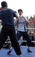 Picture by Richard Gould/Focus Images Ltd +44 7855 403186<br /> 22/06/2013<br /> Luke Campbell takes part in a public workout at Queen Victoria Square, Hull.