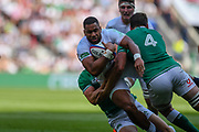 England player Joe Cokanasiga gets tackle close to the try line in the first half during the England vs Ireland warm up fixture at Twickenham, Richmond, United Kingdom on 24 August 2019.