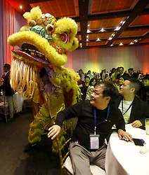 May 24, 2019 - Valencia, Carabobo, Venezuela - May 24, 2019, The dragon dance began the inauguration of the conference for the promotion of the peaceful reunification of China in a, central and southern eroch, held at the Hesperia hotel in the city of Valencia, Carabobo state. Photo: Juan Carlos Hernandez (Credit Image: © Juan Carlos Hernandez/ZUMA Wire)