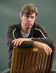 Pictured: Edinburgh International Book Festival, Edinburgh, Scotland, United Kingdom, 26 August 2019.  Booker prize winner David Szalay, talks about his imaginative book 'Turbulence' at the book festival today.<br /> Sally Anderson | EdinburghElitemedia.co.uk