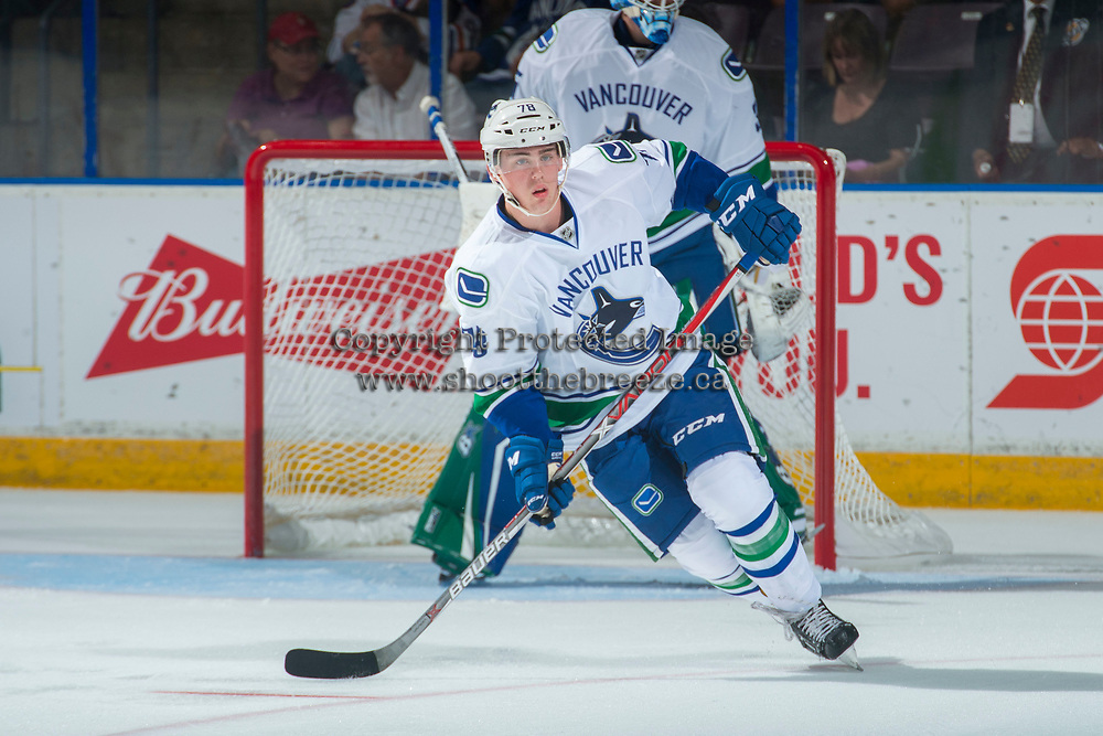 PENTICTON, CANADA - SEPTEMBER 8: Kole Lind #78 of Vancouver Canucks skates against the Winnipeg Jets on September 8, 2017 at the South Okanagan Event Centre in Penticton, British Columbia, Canada.  (Photo by Marissa Baecker/Shoot the Breeze)  *** Local Caption ***
