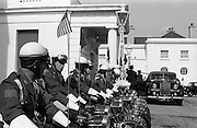 28/04/1965<br /> 04/28/1965<br /> 28 April 1965<br /> New American Ambassador presents Credentials. A view of the Army motorcycle detachment that formed part of the escort of His Excellency Raymond Richard Guest, American Ambassador, during his visit to Aras an Uachtarain to present his credentials to President Eamon de Valera.<br /> Vanden Plas Princess car
