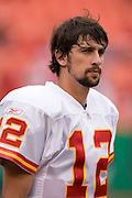 KANSAS CITY, MO - SEPTEMBER 10:  Quarterback Brodie Croyle #12 of the Kansas City Chiefs during a game against the Cincinnati Bengals on September 10, 2006 at Arrowhead Stadium in Kansas City, Missouri.  The Bengals won 23 to 10.  (Photo by Wesley Hitt/Getty Images)***Local Caption***Brodie Croyle