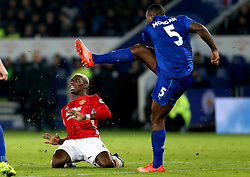 Paul Pogba of Manchester United slides on his knees as Wes Morgan of Leicester City clears the ball - Mandatory by-line: Robbie Stephenson/JMP - 05/02/2017 - FOOTBALL - King Power Stadium - Leicester, England - Leicester City v Manchester United - Premier League
