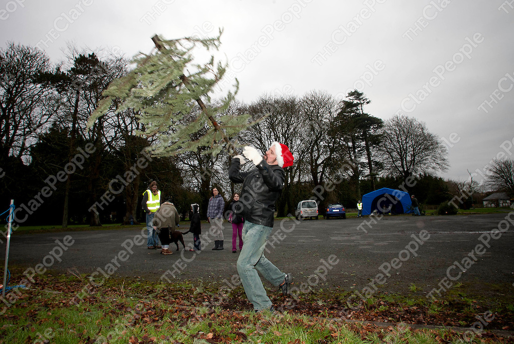 07.01.12<br /> The inaugural Irish Christmas Tree Throwing Championship took place on the grounds of OUr Lady's Hospital Gort Road, Ennis, Co Clare. All proceeds raised will go toward the development of a new Clare County Dog Shelter. Competing in the event was Ian Cloake.<br /> <br /> Pic. Alan Place / Press 22