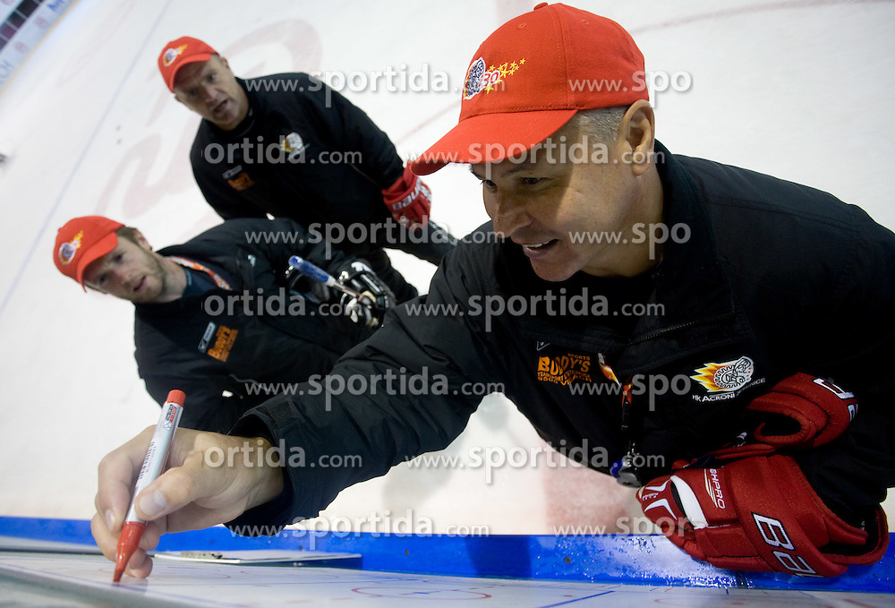 Dejan Varl, Darko Prusnik and coach Ildar Rahmatullin at practice after HK Acroni Jesenice Team roaster for 2009-2010 season,  on September 03, 2009, in Arena Podmezaklja, Jesenice, Slovenia.  (Photo by Vid Ponikvar / Sportida)