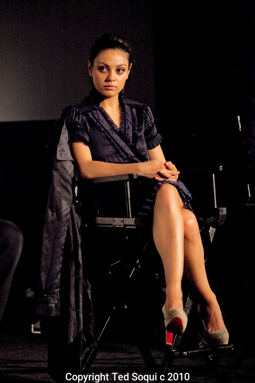 "Mila Kunis speaking about her role in the film ""Black Swan"" during a Q and A screening at the Arclight Cinema held by The Wrap."