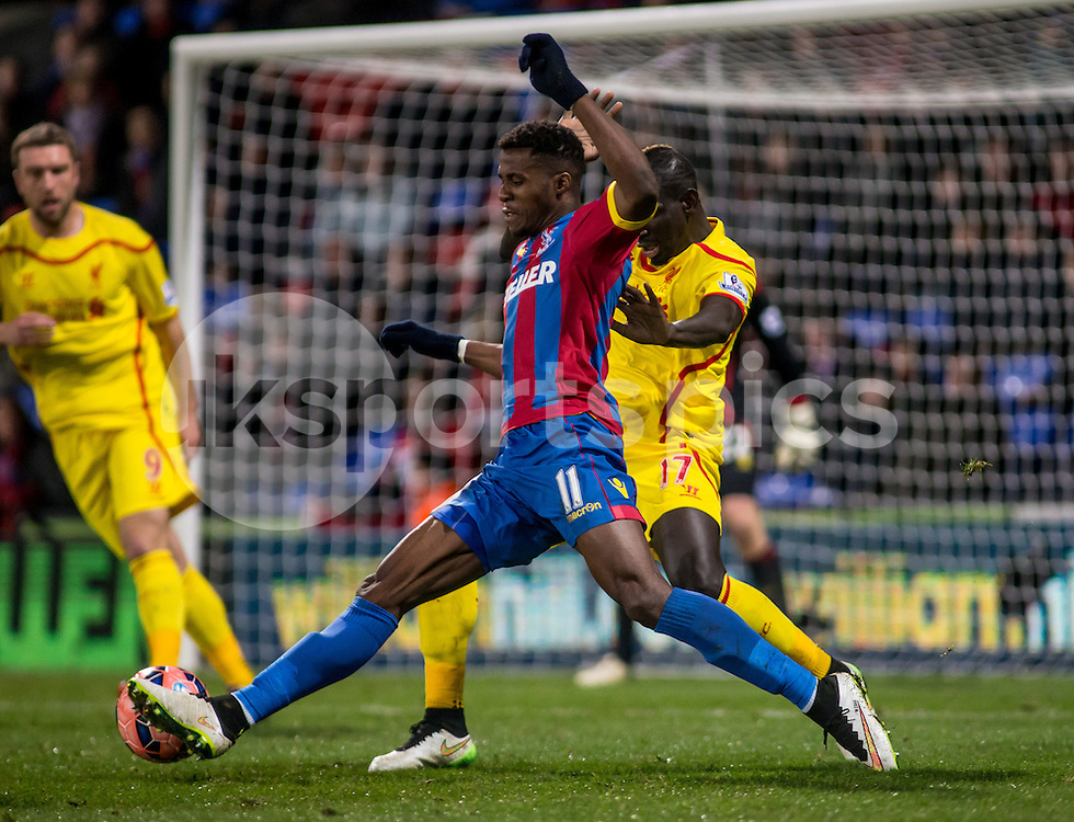 WILFRIED ZAHA asked Crystal Palace to leave.<br /> <br /> Wilfred Zaha of Crystal Palace during the The FA Cup 5th Round match between Crystal Palace and Liverpool at Selhurst Park, London, England on 14 February 2015. Photo by Liam McAvoy.