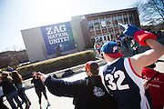 Gonzaga students celebrate the Men's Basketball Team's number one ranking. Photo by Rajah Bose