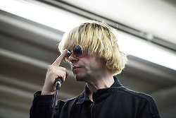 © Licensed to London News Pictures . 26/05/2017 . Manchester , UK . TIM BURGESS . The Charlatans perform an intimate gig at the former United Footwear shop on Oldham Street ahead of an album signing for the launch of their album Different Days . Photo credit : Joel Goodman/LNP