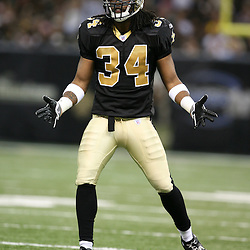 2007 October, 21: New Orleans Saints cornerback Mike McKenzie (34) pumps up the crowd during a 22-16 win by the New Orleans Saints over the Atlanta Falcons at the Louisiana Superdome in New Orleans, LA.